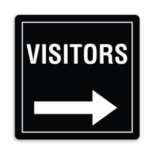 Visitors Direction Sign with Right Arrow