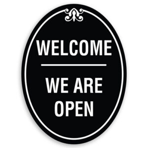Welcome We Are Open Sign Oval Shaped with Border and Decoration
