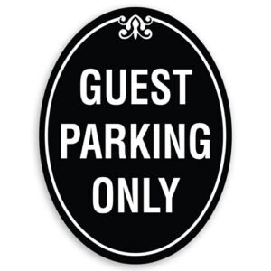 Guest Parking Sign Oval Shaped with Border and Decoration