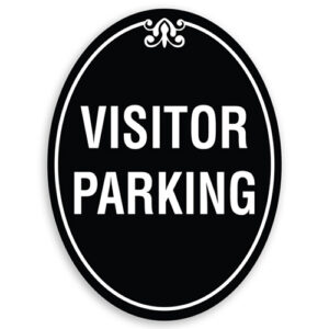 Visitor Parking Sign Oval Shaped with Border and Decoration