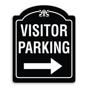 Visitor Parking Sign with Right Arrow Oblong Shaped with Border and Decoration