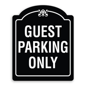 Guest Parking Sign Oblong Shaped with Border and Decoration