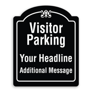 Visitor Parking Custom Wording Sign Oblong Shaped with Border and Decoration