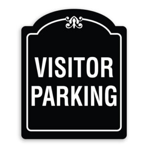 Visitor Parking Sign Oblong Shaped with Border and Decoration