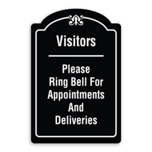 Visitors Please Ring Bell for Appointments and Deliveries Sign Oblong Shaped with Border and Decoration