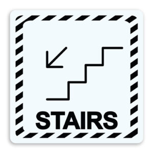 Stairs with Arrow Down Sign