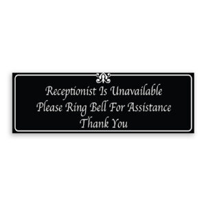 Receptionist Unavailable Please Ring Bell for Assistance Thank You Sign with Fancy Font, Border and Decoration