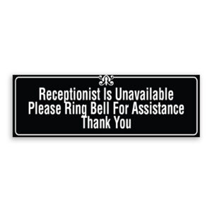 Receptionist Unavailable Please Ring Bell for Assistance Thank You Sign with Border and Decoration