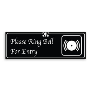 Please Ring Bell for Entry Sign with Bell Logo, Fancy Font, Border and Decoration