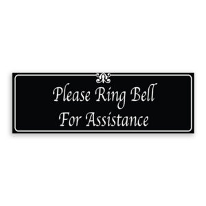 Please Ring Bell for Assistance Sign with Fancy Font, Border and Decoration