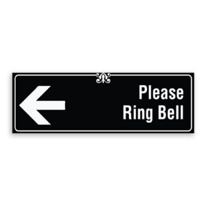 Please Ring Bell Sign with Left Arrow, Border and Decoration