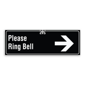 Please Ring Bell Sign with Right Arrow, Border and Decoration