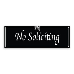 No Soliciting Sign with Fancy Font, Border and Decoration