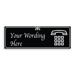 Custom Small Black Sign with Phone Logo, Fancy Font, Border and Decoration