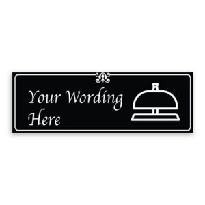 Custom Small Black Sign with Bell Logo, Fancy Font, Border and Decoration