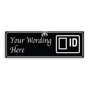 Custom Small Black Sign with ID Badge Logo, Fancy Font, Border and Decoration