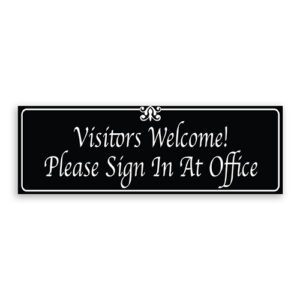 Visitors Welcome Please Sign in at Office Sign with Fancy Font, Border and Decoration