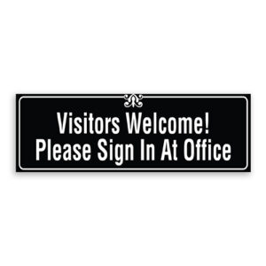 Visitors Welcome Please Sign in at Office Sign with Border and Decoration