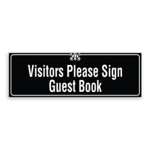 Visitors Please Sign Guest Book Sign with Border and Decoration