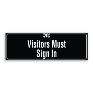 Visitors Must Sign In Sign with Border and Decoration