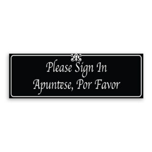 Please Sign In Sign with Fancy Font, Border and Decoration - English and Spanish