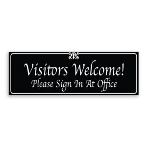Visitors Welcome Please Sign In At Desk Sign with Border and Decoration