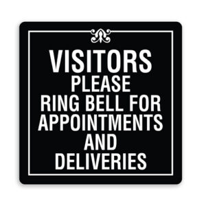 Visitors Please Ring Bell for Appointments and Deliveries with Border and Design